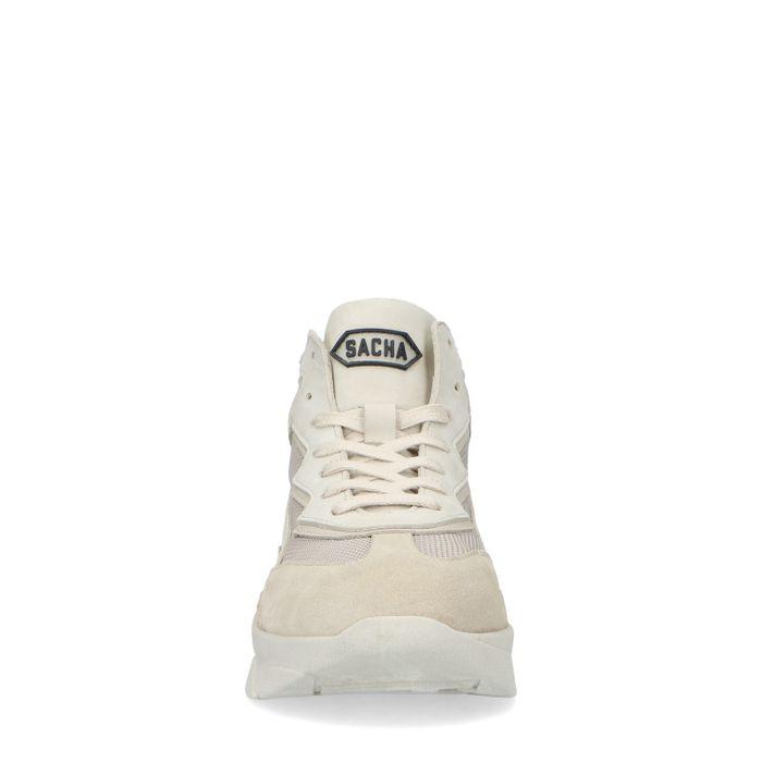 Halfhoge beige leren dad sneakers