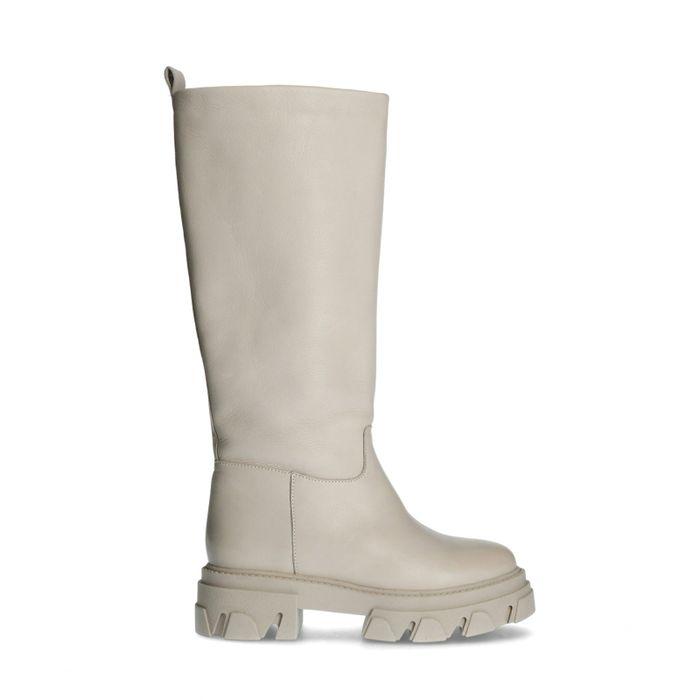 Beige hoge boots met plateauzool