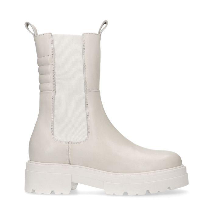 Latte leren chelsea boots met detail