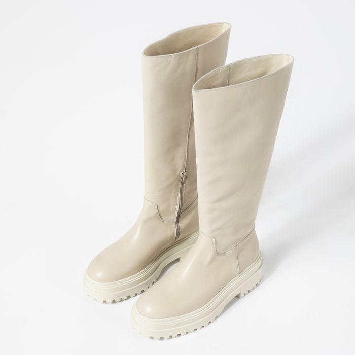 Beige hoge chelsea boots