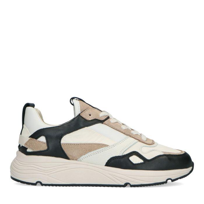 Beige sneakers met zwarte details