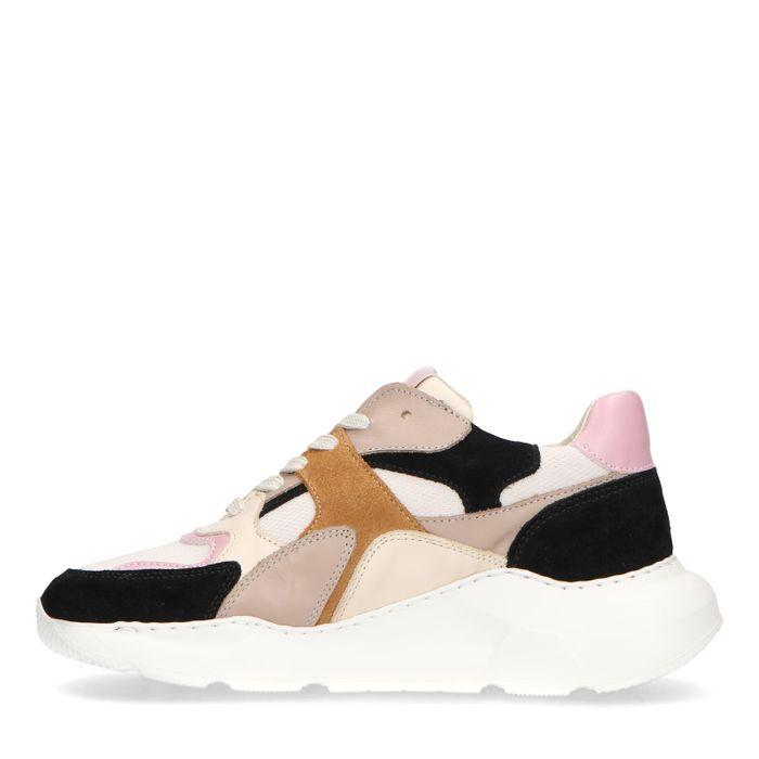 Beige sneakers met gekleurde details
