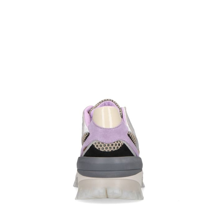 Beige sneakers met lila details