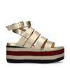 Metallic gouden platform sandalen