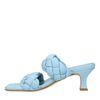 Blauwe leren muiltjes met gevlochten banden