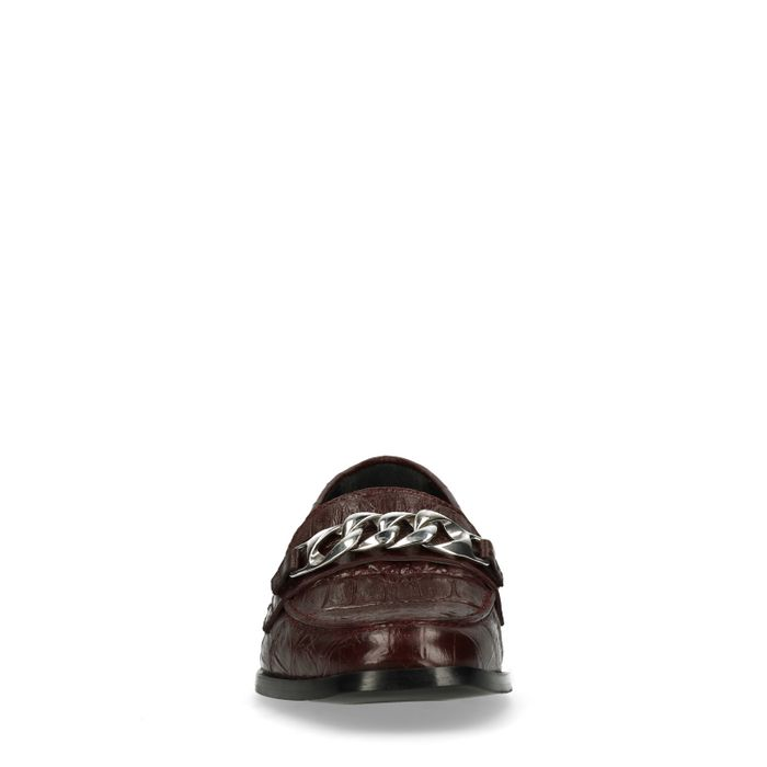 Bordeaux rode loafers met chain