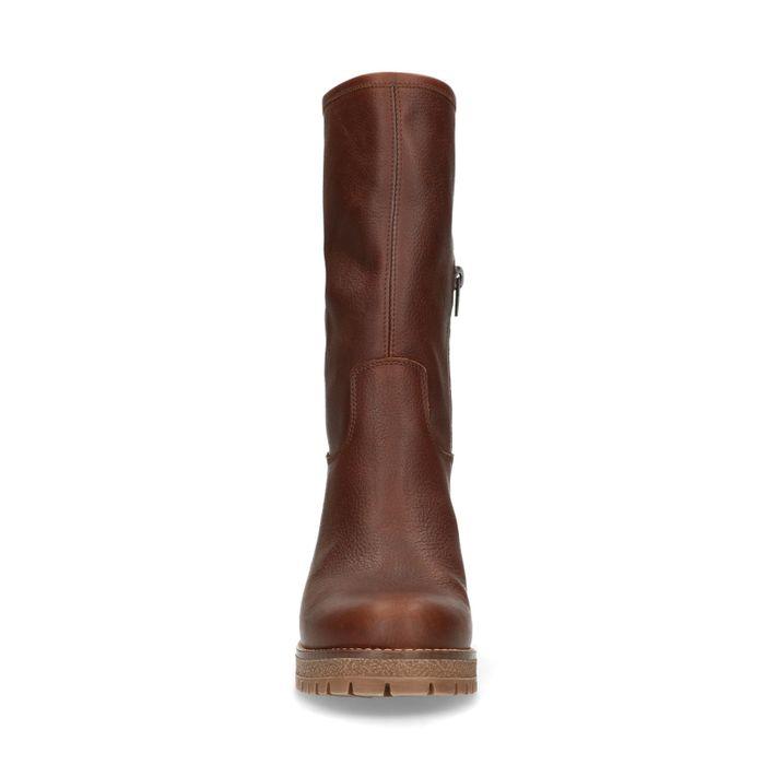 Korte bruine laarzen met hak en imitatiebont