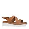 Cognac leren plateau sandalen