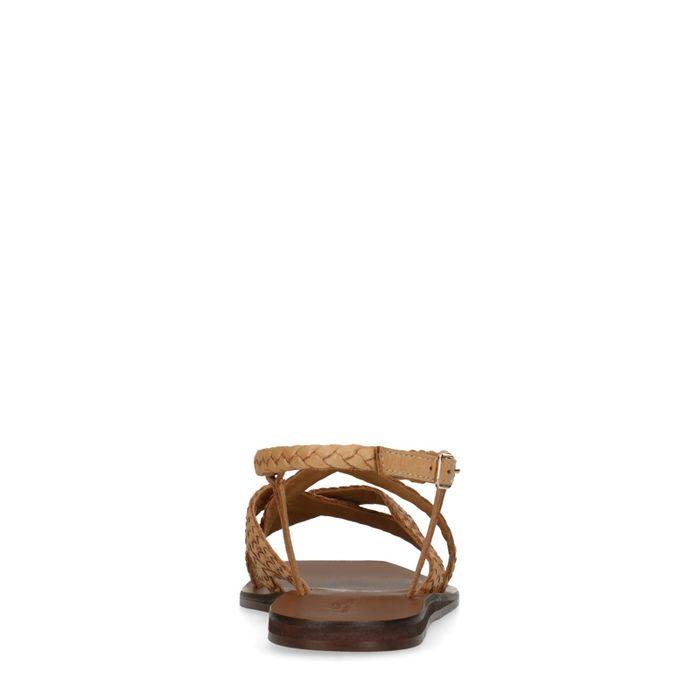 Camel sandalen met gevlochten bandjes