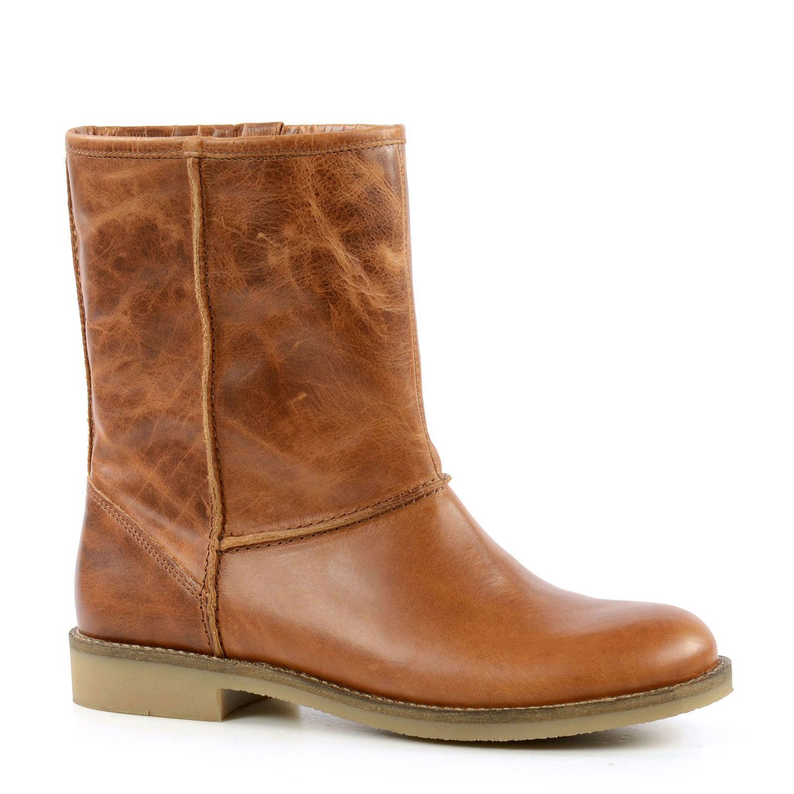 Sacha Cognac korte laarzen met imitatiebont