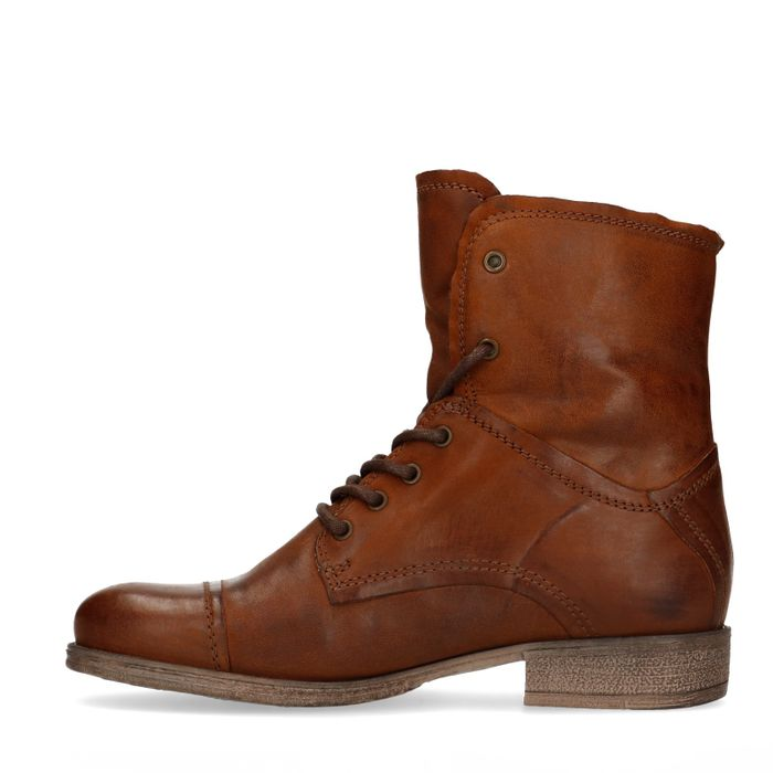 Combat boots bruin met imitatiebont