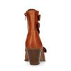 Cognac veterlaarsjes met hak en cut outs