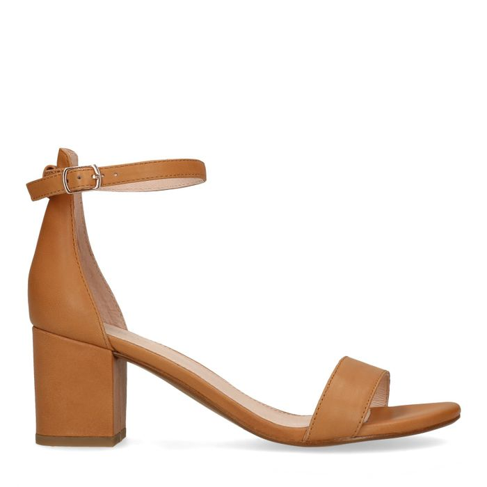 Cognac leren sandalen met hak