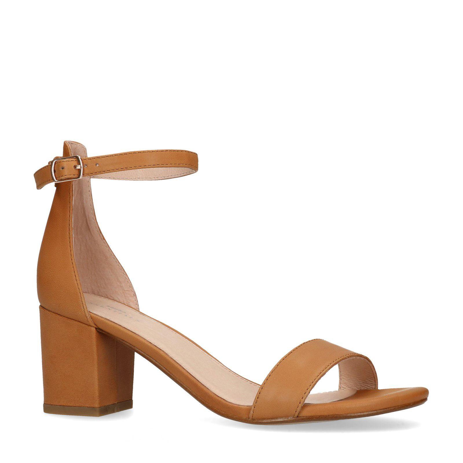 Bruine leren slippers met lage hak Dames | MANFIELD