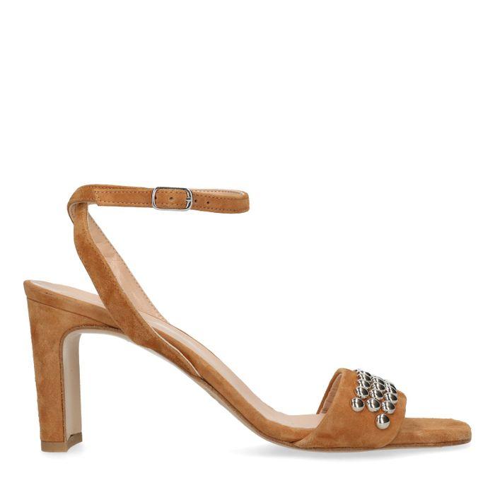 Gele suède sandalen met hak met studs