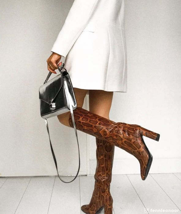 Cognac snakeskin laarzen