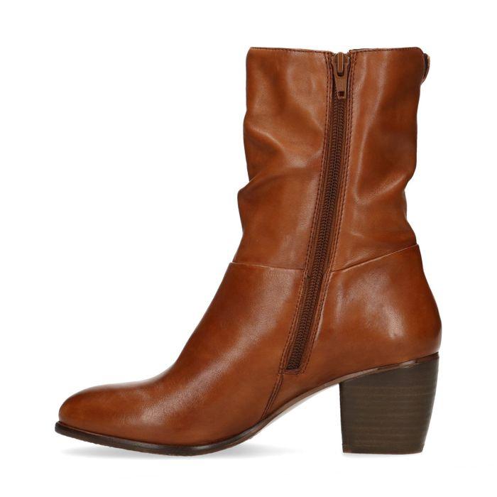 Bruine leren korte laarzen met hak
