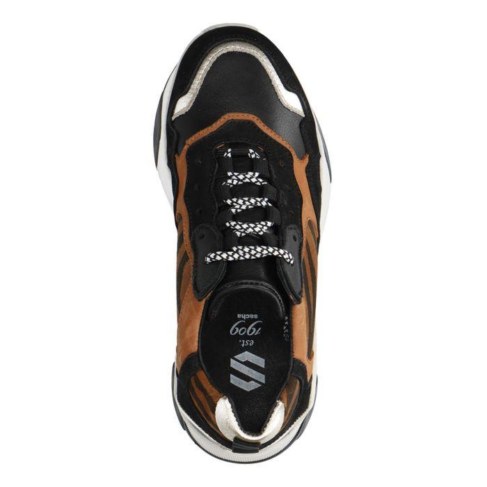 Bruine dad sneakers met zebraprint