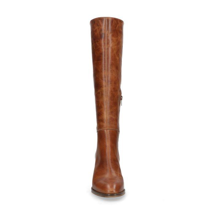 Cognac hoge laarzen met hak