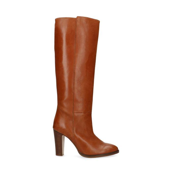 Cognac hoge laarzen met hoge hak