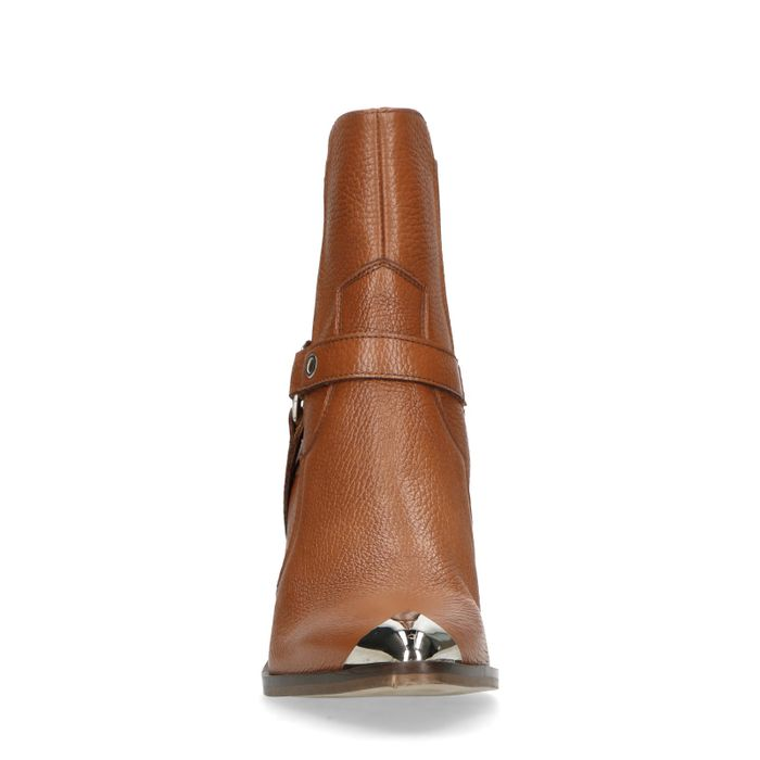 Cognac chelsea boots met hak