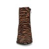 Cognac enkellaarsjes met zebra print