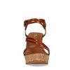 Cognac sandalen met sleehak