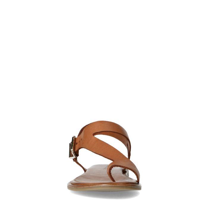 Cognac leren sandalen