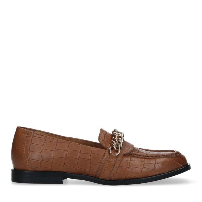 Cognac leren loafers met crocoprint