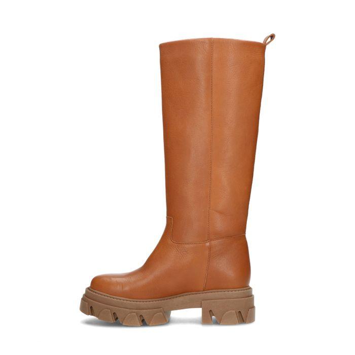 Cognac hoge boots met plateauzool