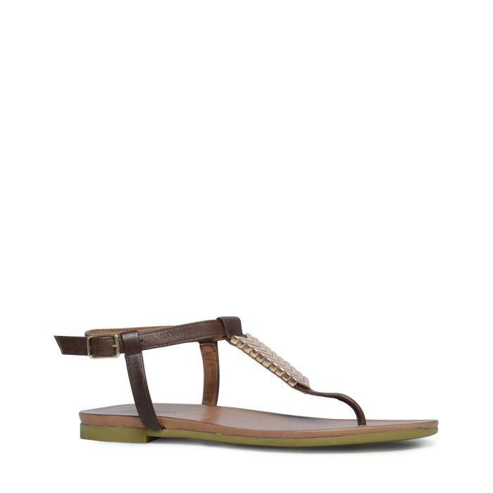 Donker bruine sandalen met goud