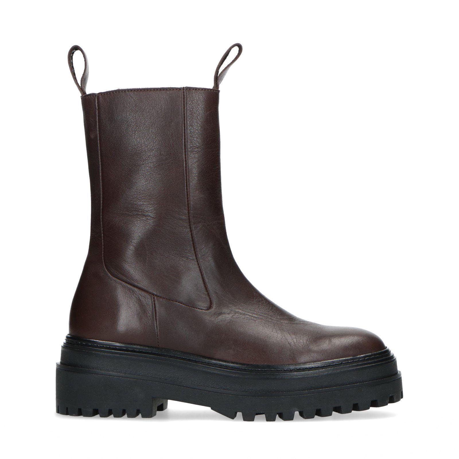 Donkerbruine leren chelsea boots Damesschoenen – SACHA