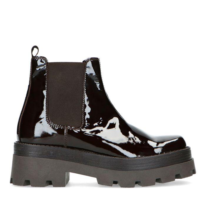 Donkerbruine chelsea boots van lakleer