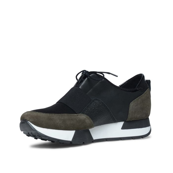 Lage sneakers zwart met donkergroen