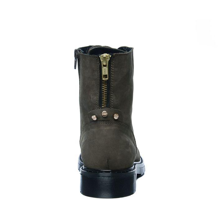 Donkergroene biker boots met goudkleurige details