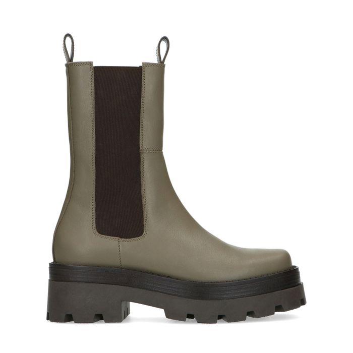 Khaki hoge chelsea boots