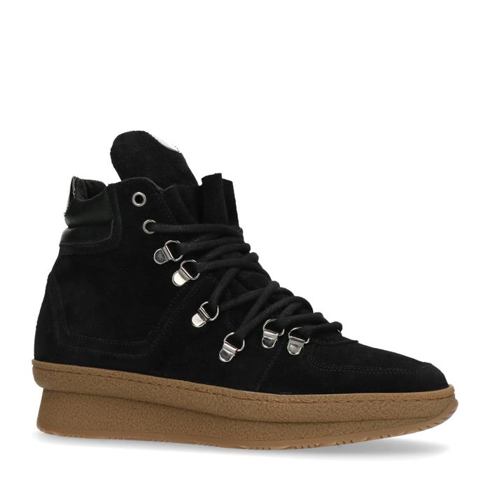 Zwarte suède wedge sneakers