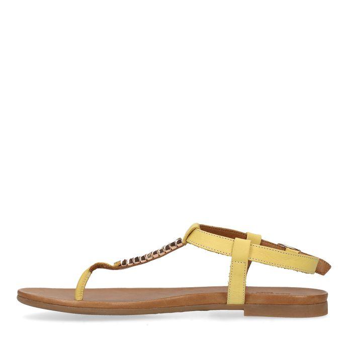 Gele sandalen met gouden details