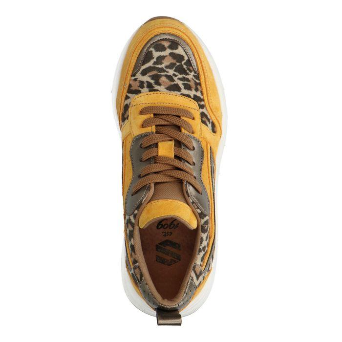 Okergele dad sneakers met panterprint
