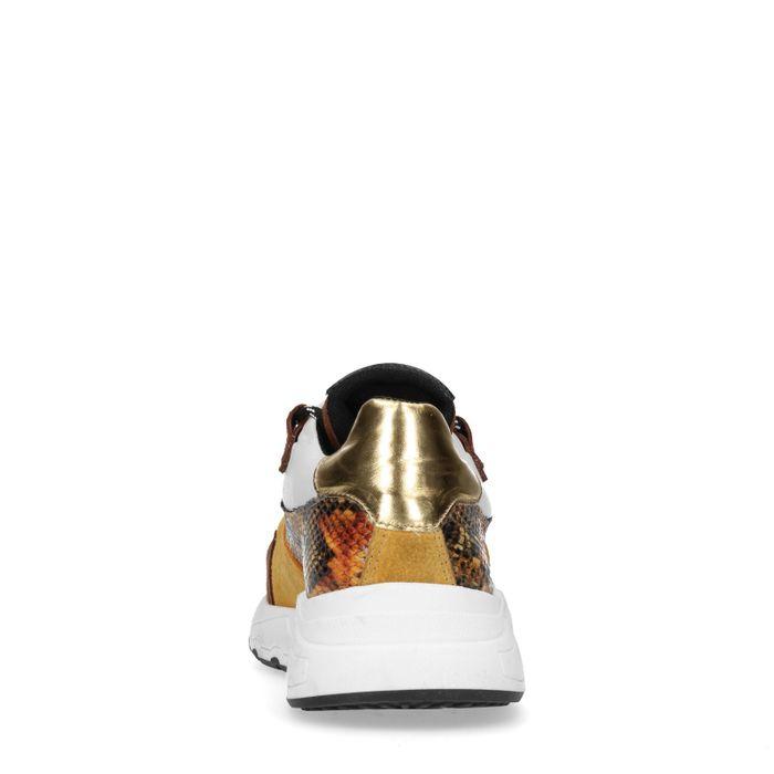 Gele dad sneakers met snakeskin