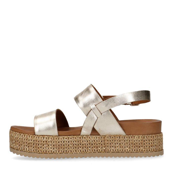 Gouden leren plateau sandalen