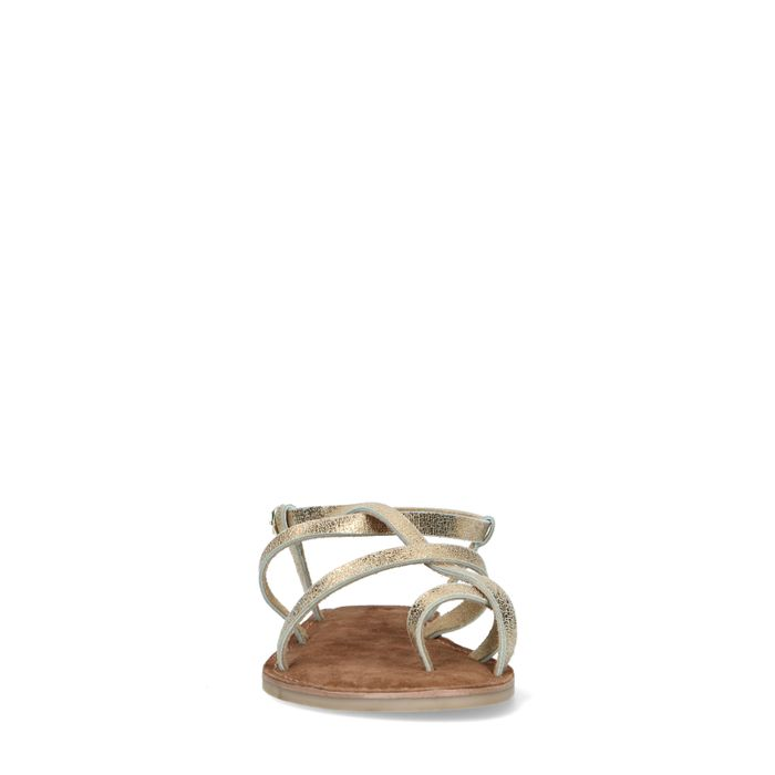Goudkleurige platte sandalen