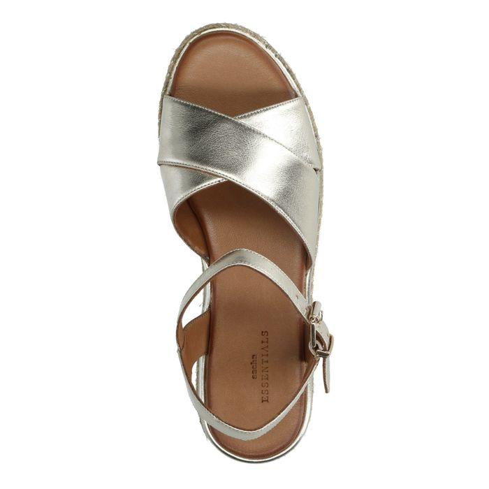 Goudkleurige plateau sandalen met gevlochten zool