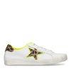Witte lage sneakers met panterprint ster