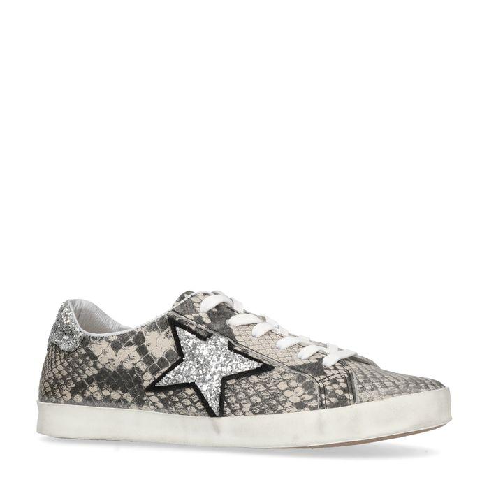 Snakeskin sneakers met ster