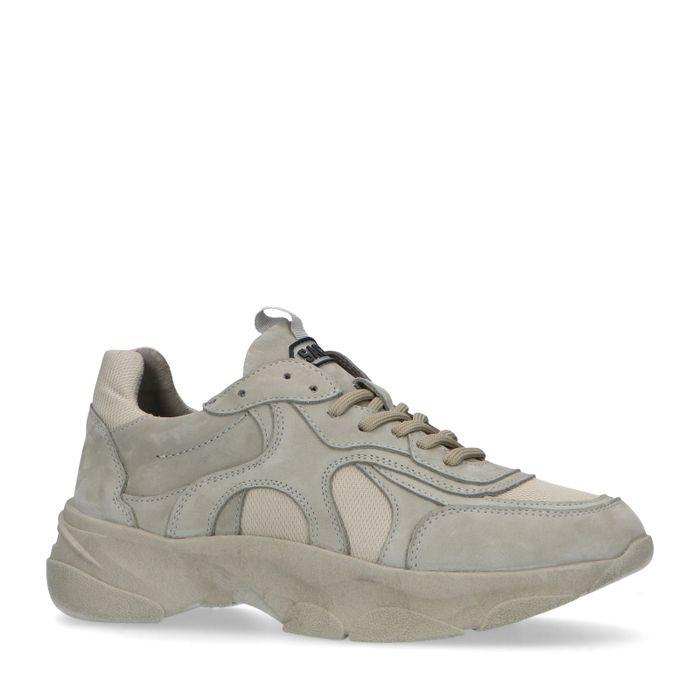 Grijze leren dad sneakers