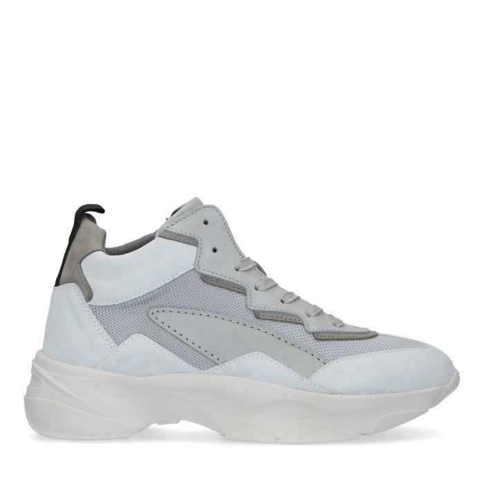 Halfhoge grijze leren dad sneakers