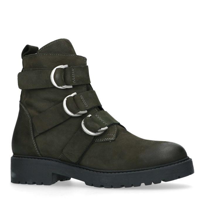Groene biker boots met 3 gespen