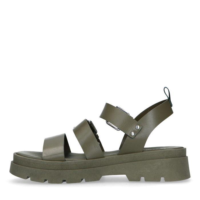 Groene leren plateau sandalen