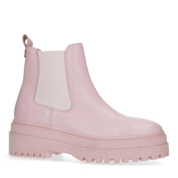Lichtroze leren chelsea boots